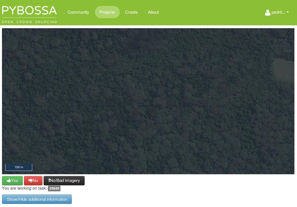 screenshot of the v2 pybossa microtasking platform