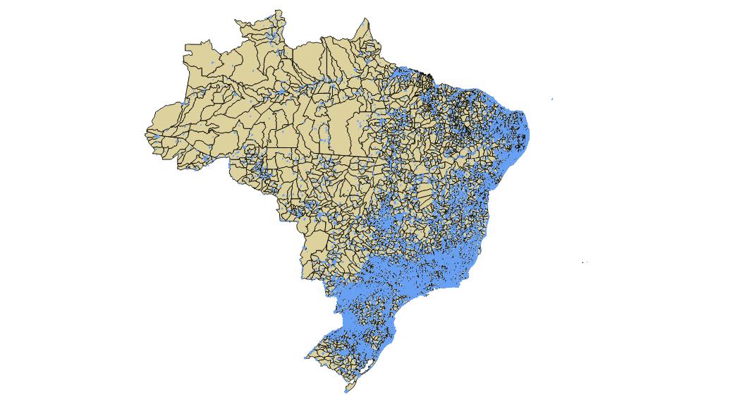 Sobreposição das ruas residenciais sobre o território dos municípios brasileiros