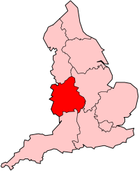 Region Highlighted on England Map