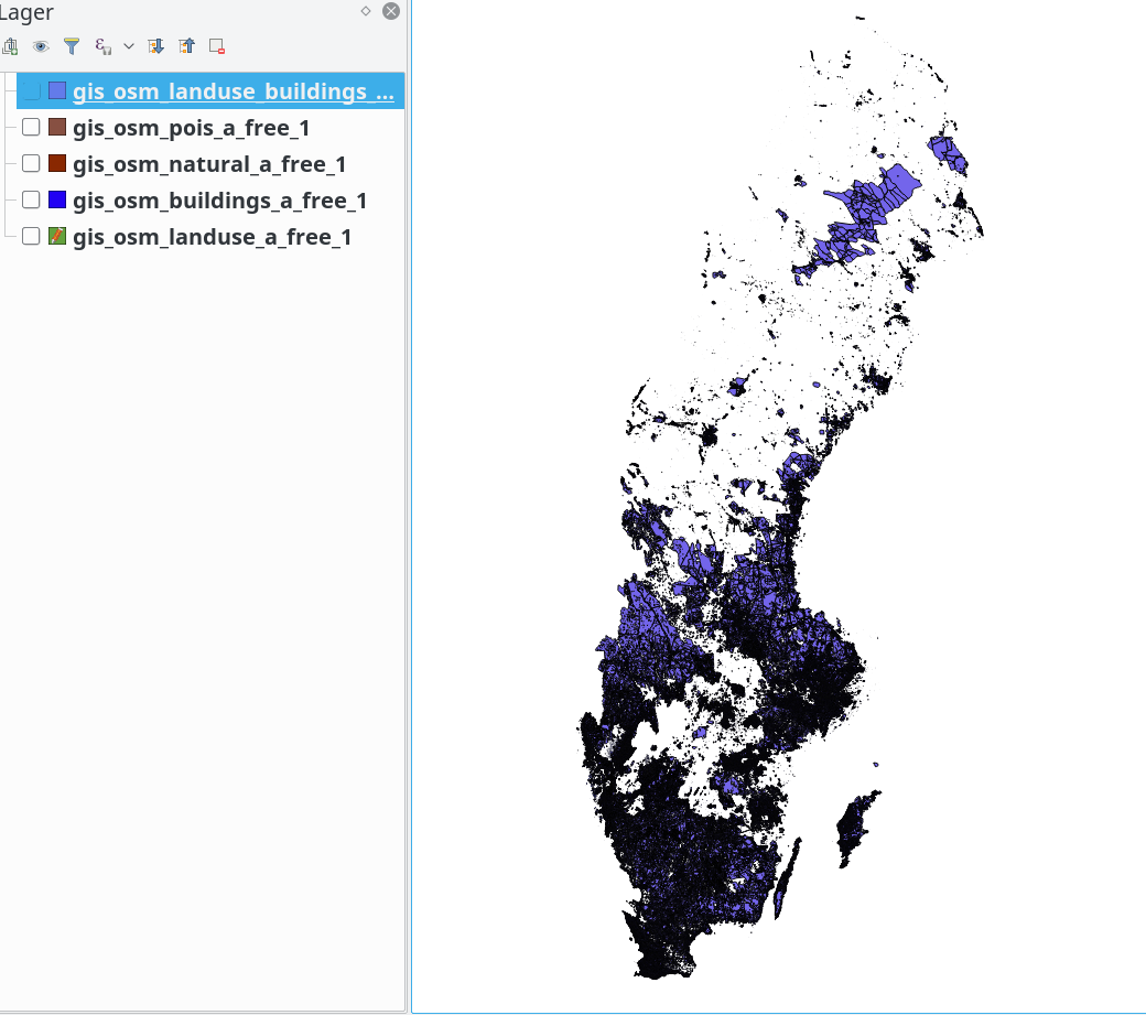 Overview of Sweden's unmapped land cover for start of 2019