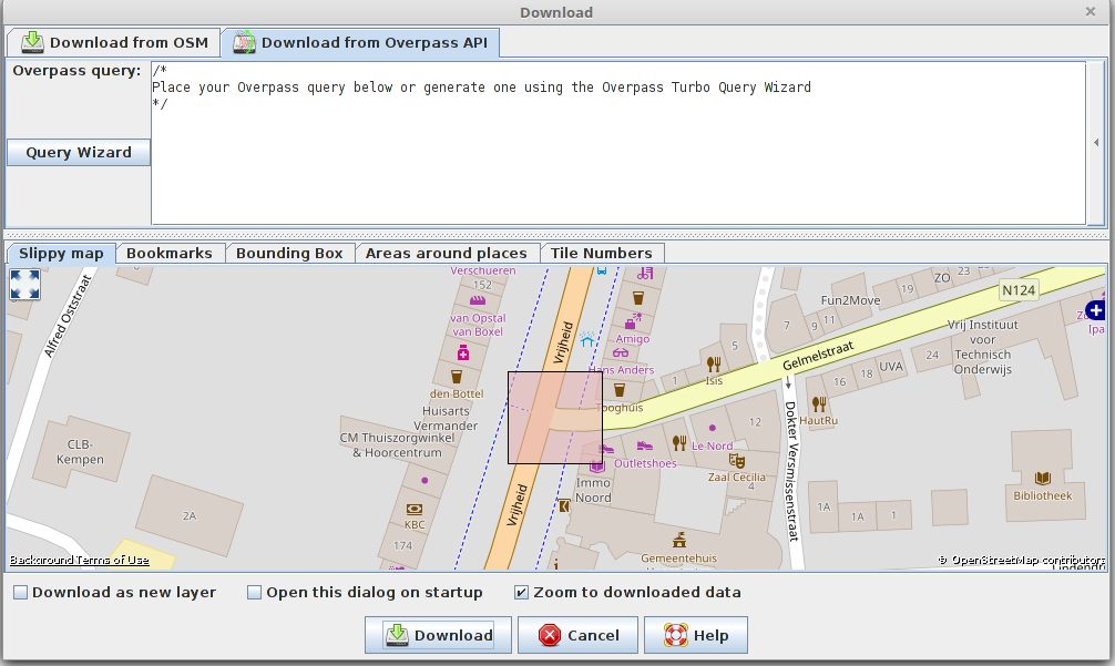 JOSM new download dialog with Overpass API wizard