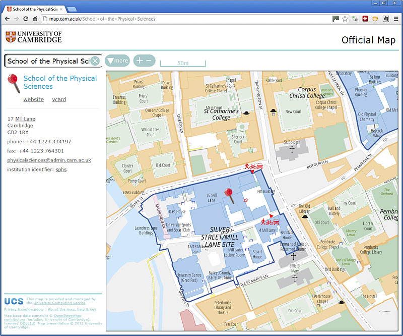 University of Cambridge map