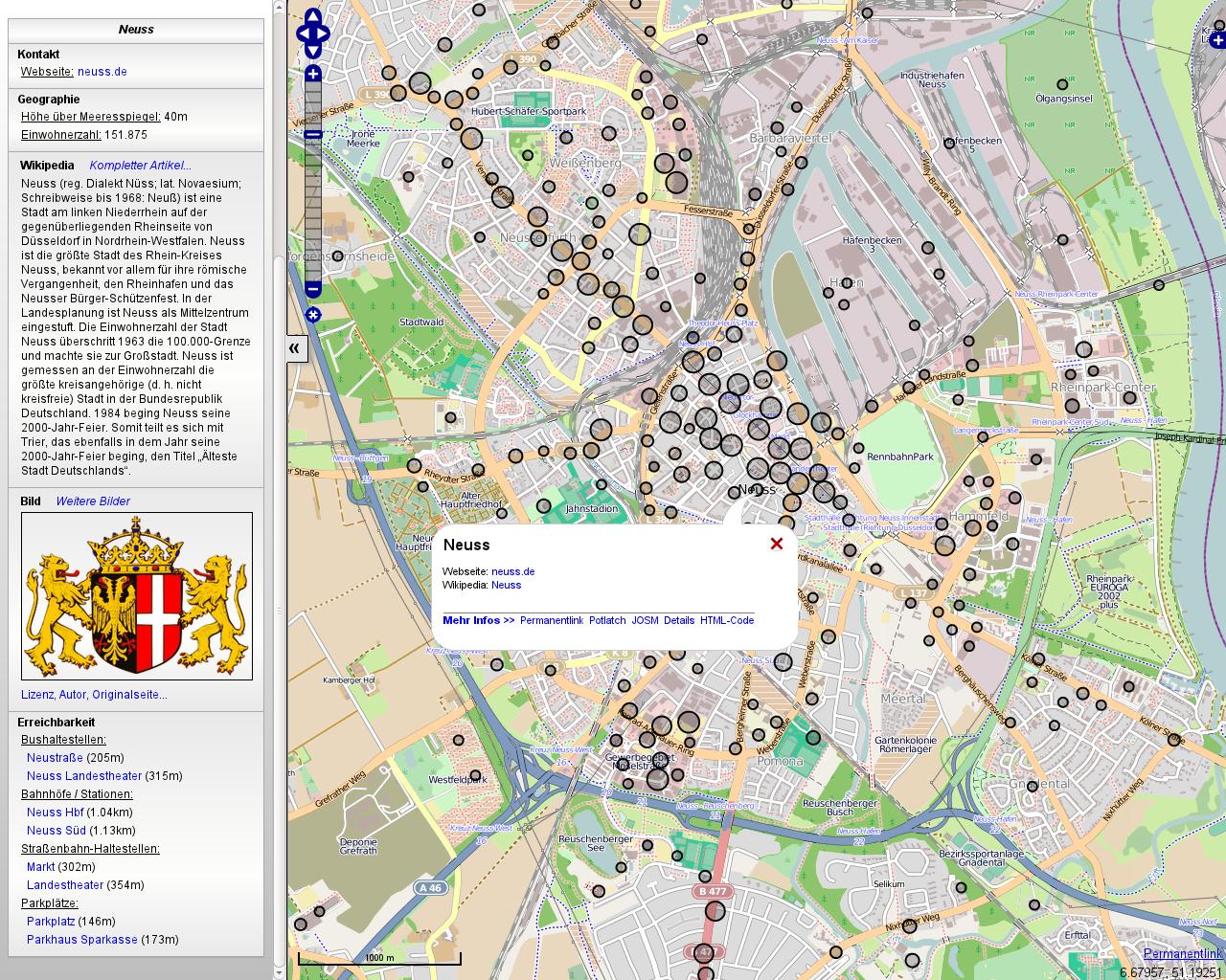 Screenshot der OpenLinkMap