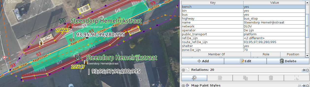 While adding more and more details to the geometry and the objects around the stop, there was no need to change the tags of the pivot object - the highway=bus_stop public_transport=platform node - or transfer them to an other OSM object.