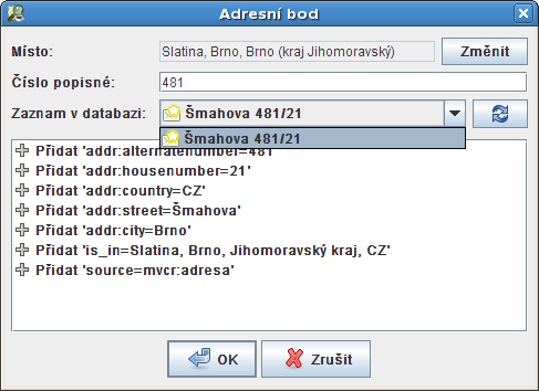 CzechAddress - New address dialog.png