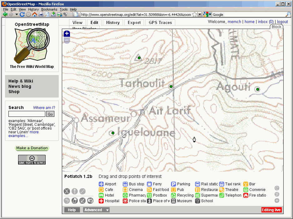 See editing for morocco in Potlatch with American Mapping Service 250k Map as background