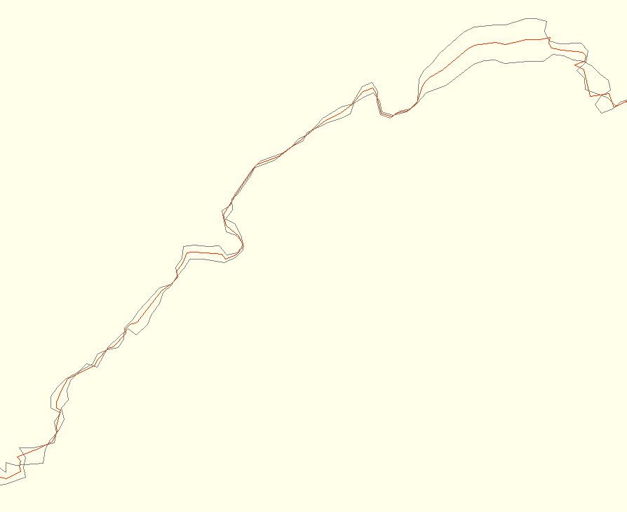 Screenshot from josm showing an average track. The red track is the average, the two on the sides are the source tracks.