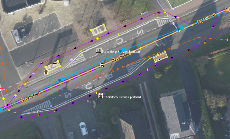 Rerouting the cycleway around the bus stop platforms