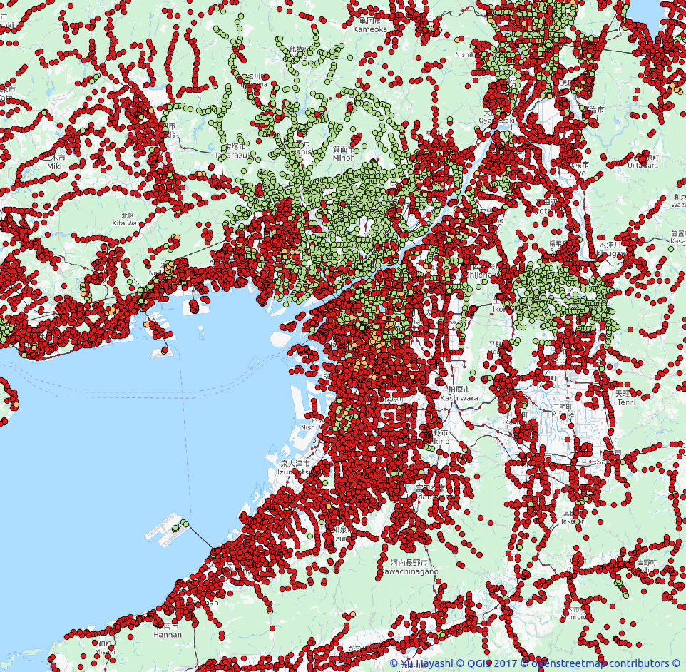OSM coverage bus_stop 神奈川県