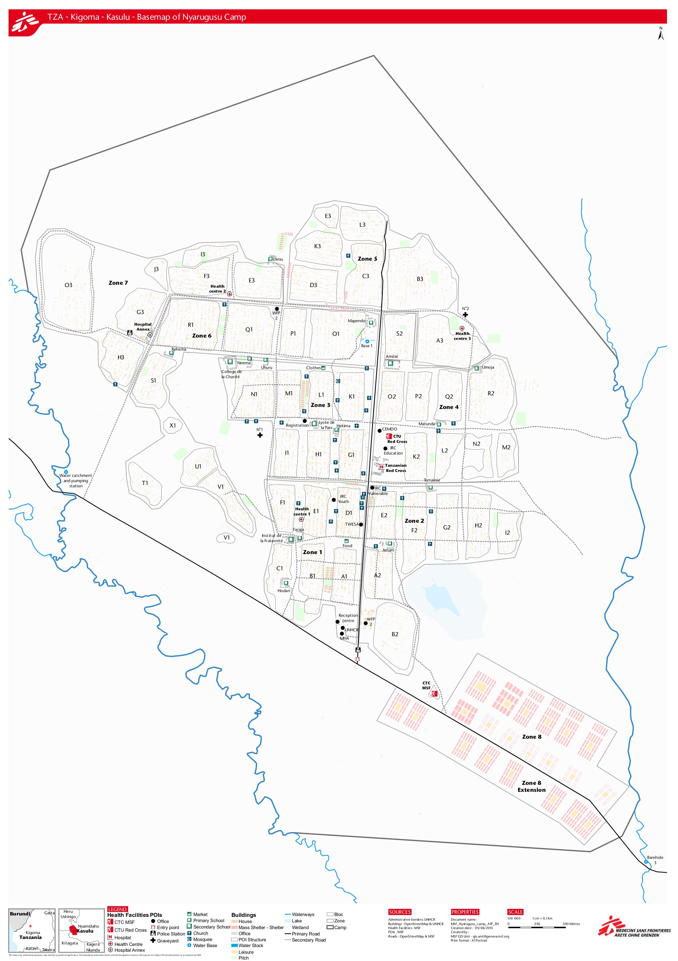 Map of Nyarugusu Refugee Camp