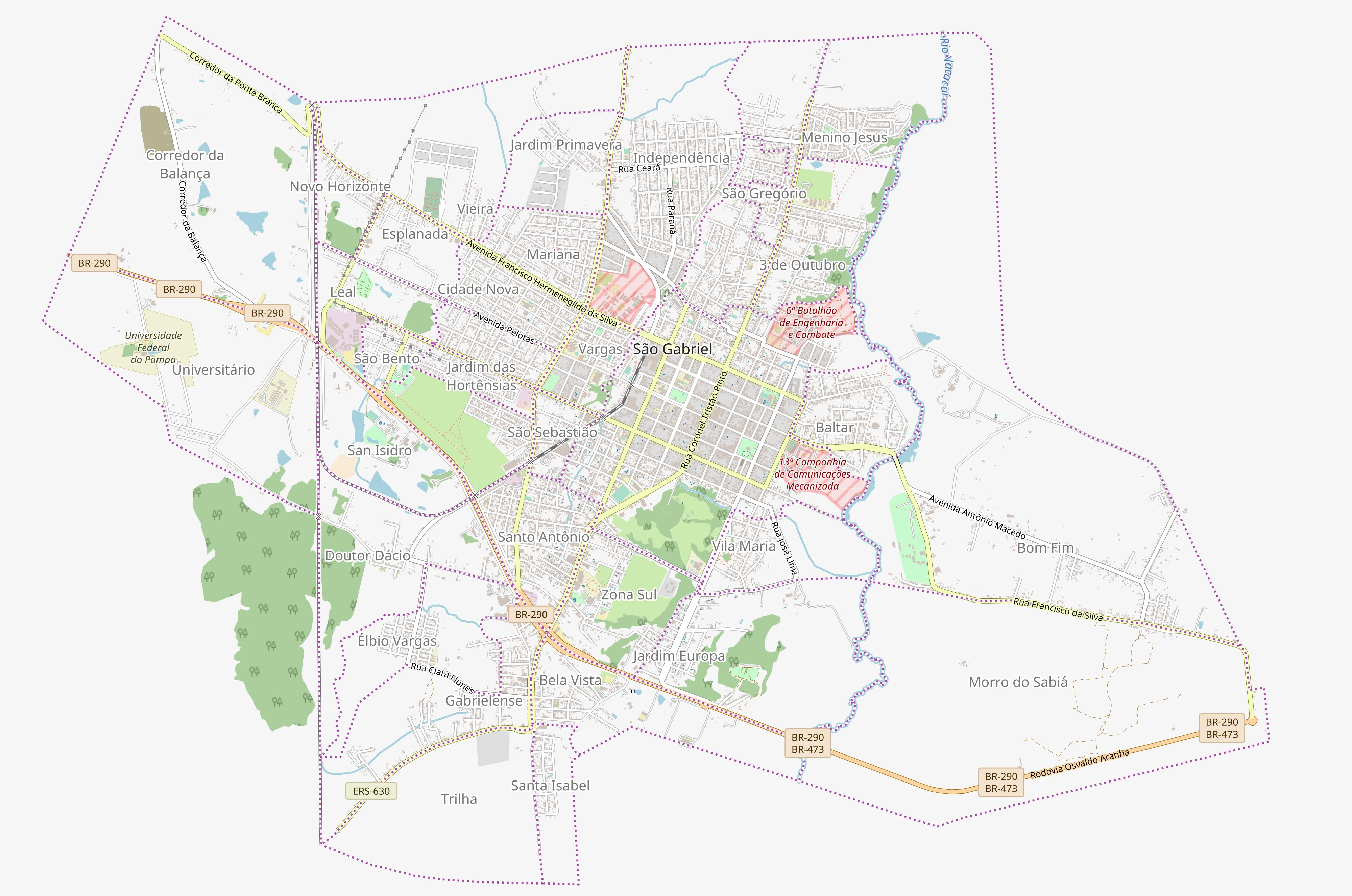 Zona urbana de São Gabriel, RS