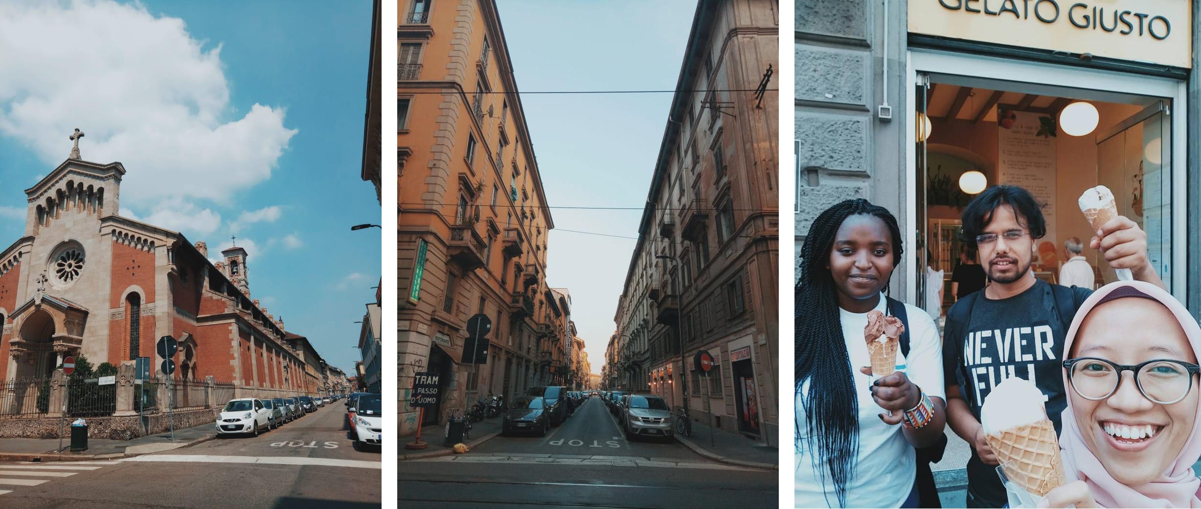 Beberapa sisi jalan di Kota Milan dan Gelato pertamaku di Milan!