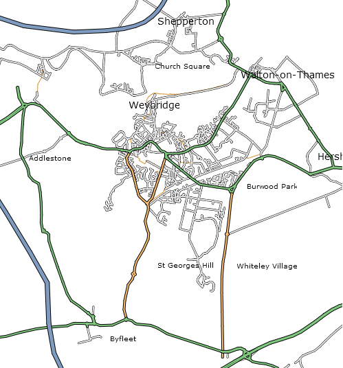 80n's Weybridge Map