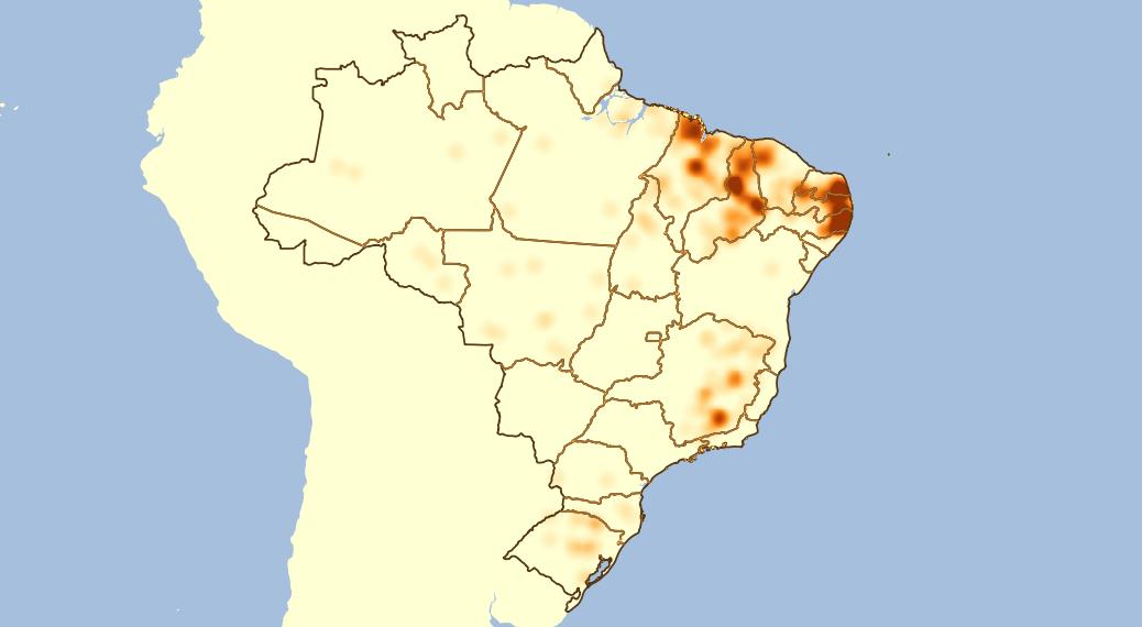 Mapa de calor mostrando a localização dos municípios no Território Nacional