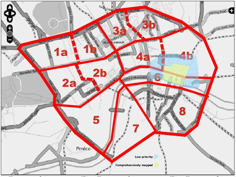 Area to be mapped divided into sectors, using major roads and the Thames