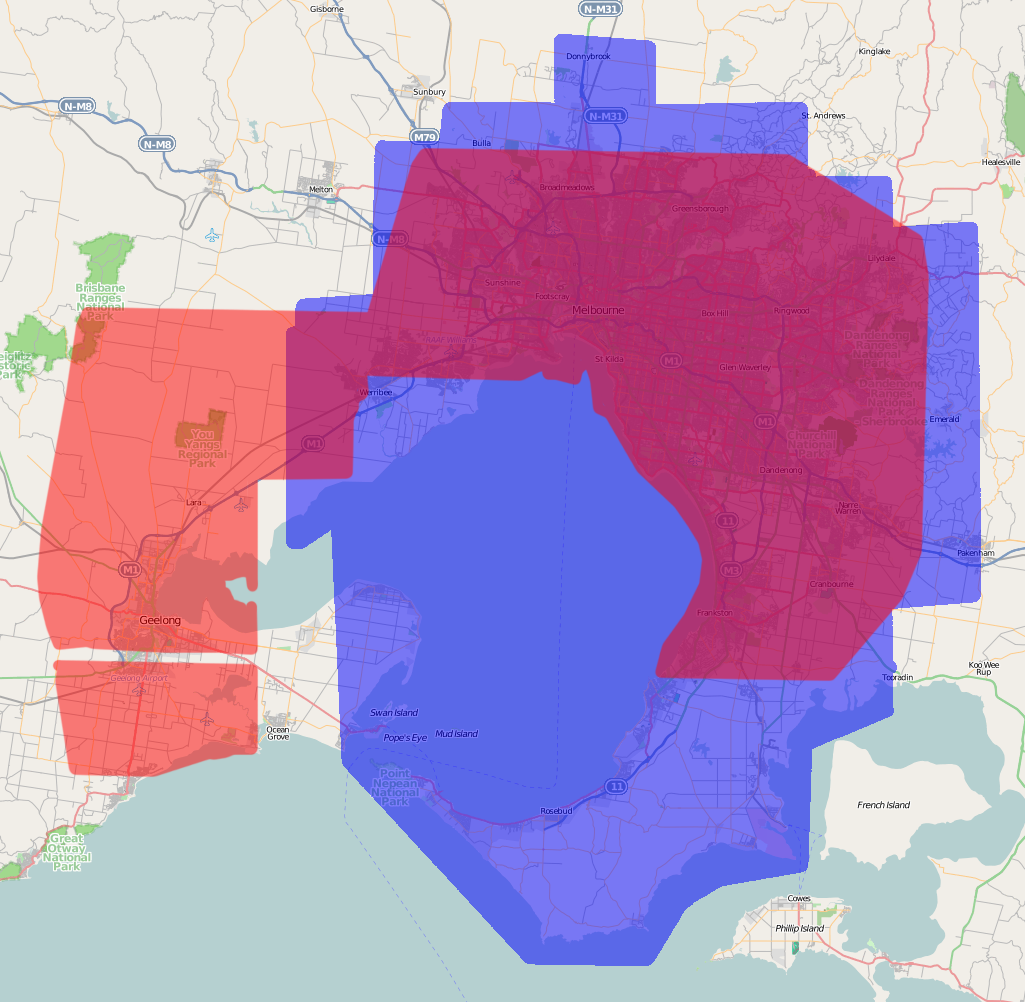 Melbourne and Geelong Combination Coverage January 20 2009.png