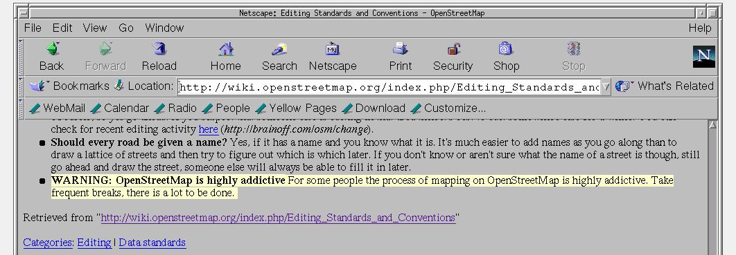 OSM Wiki Warning 2006
