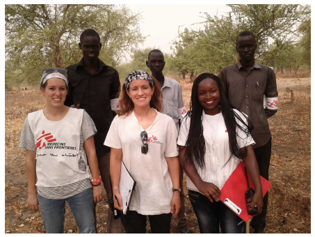 Laura and her team in South Sudan