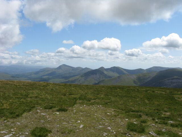 View from the summit of Moel Eilio, showing how grasslands are a feature of the mountains of North Wales