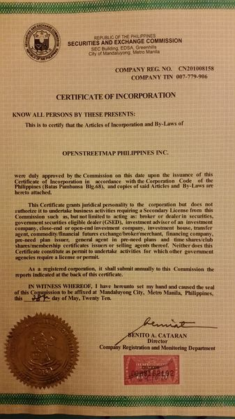 File:OpenStreetMap Philippines Inc. SEC Certificate of Incorporation.jpg