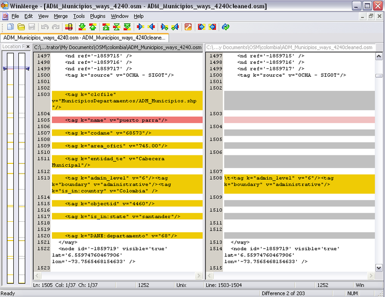 File:Perl processing of muniicipality osm data for Colombia (Dec 2010) - section of way data before and after.png