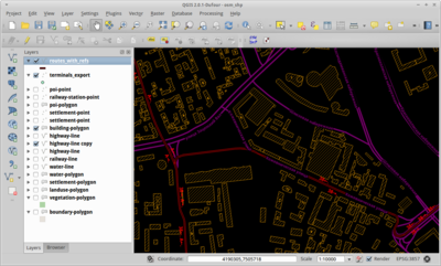 Screenshot of QGIS showing OSM data
