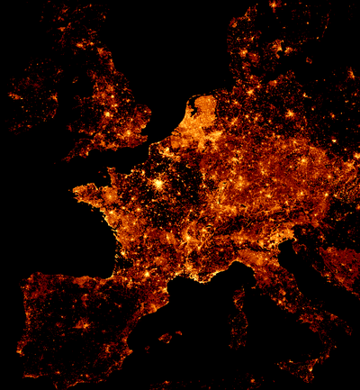map showing the colourised node density of OpenStreetMap data