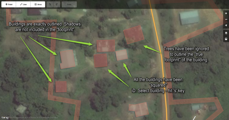 This image just points out the import things when mapping buildings. As mentioned above: Closely follow the actual outline of the building and square the corners.
