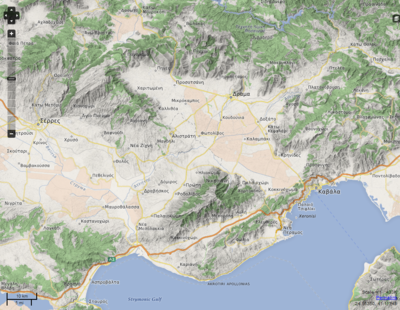 Screenhot of a map rendering with hillshading by OpenMapSurfer