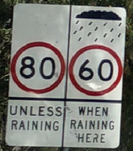 80 unless raining, 60 when raining road sign