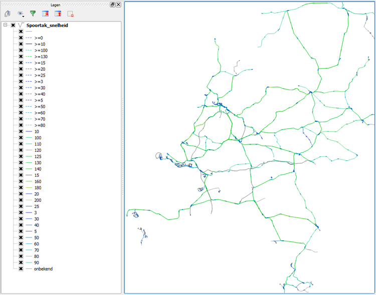 A render of the ProRail speed limit database in QGIS, in accordance with the ORM speed layout