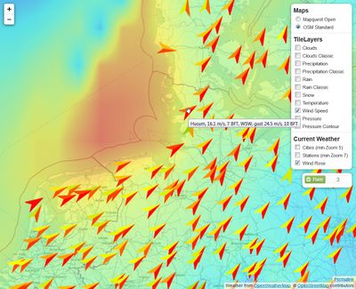 "OSM map (""mapnik"") of North Sea and Northwest Germany with a wind speed overlay for the storm on 28th October 2013"