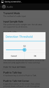 Detection threshold slider