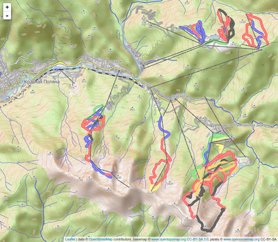 screenshot of a topographic slippy map with overlaid pistes