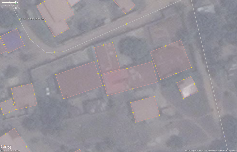 Typical buildings in West African city mapped correctly.