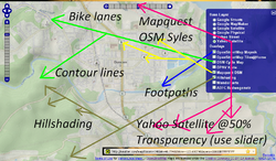 Sutter MapQuest Yahoo OSM CyleMap Mashup.PNG