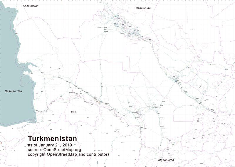Map of Turkmenistan highway network