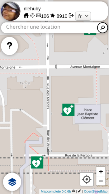 Open AED Map - MapComplete (vue carto).png