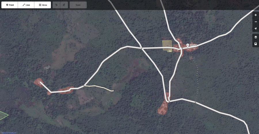 Typical small villages connected by roads in West Africa with items correctly mapped in OSM as displayed by the iD web browser OSM editor