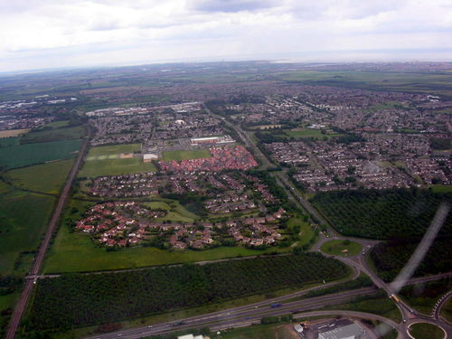 Aerial photo of Cramlington taken from a DC-3 looking North