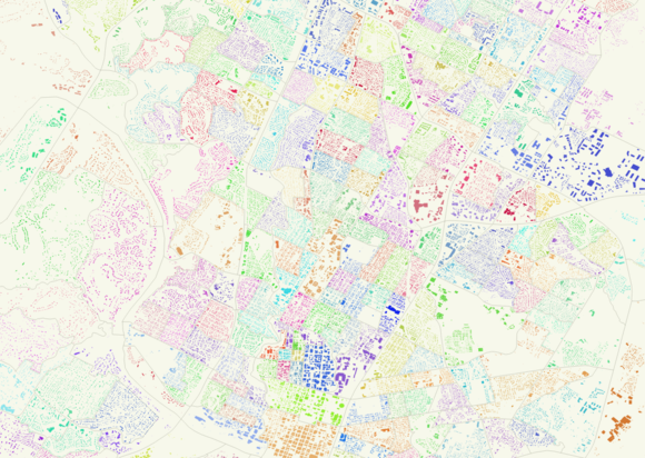 A map of building footprints from the City of Austin, colored by census block group.