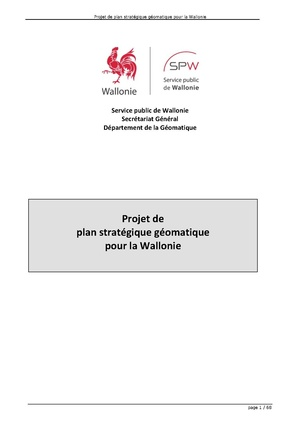 """project of strategic plan for the Wallon's geomatica"""