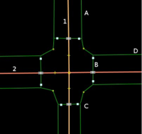 Crossing four-way intersection moved kerbs.png