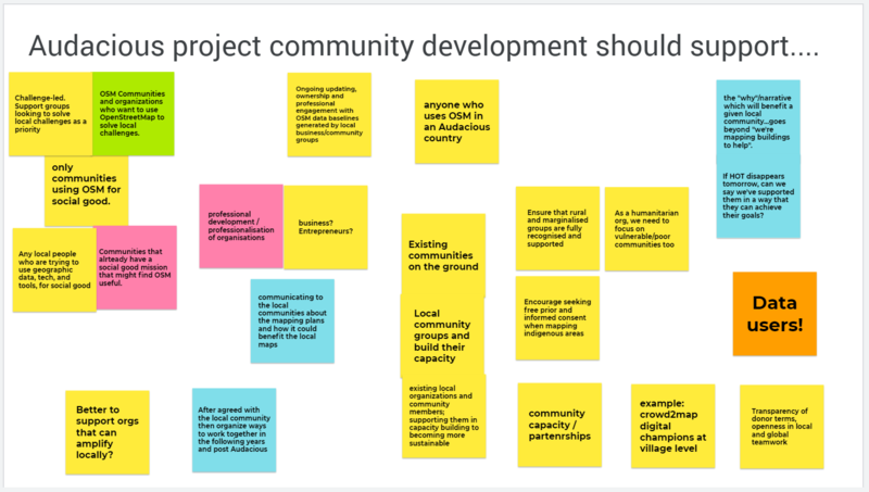 Outputs from the discussion of the question, what communities should the Audacious project support?