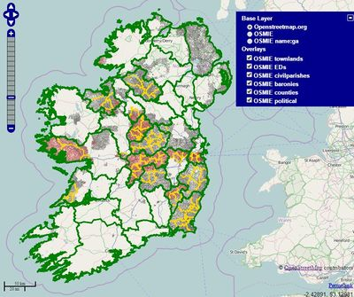 Map Of Ireland With County Borders.Ireland Mapping Townlands Openstreetmap Wiki