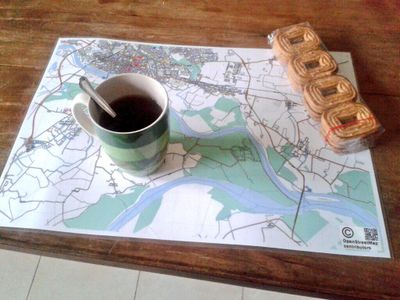 a breakfast/place mat showing a map