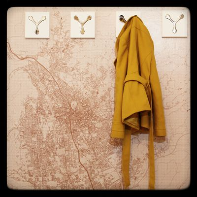 A reallife OpenStreetMap wallpaper with clothes hooks on top