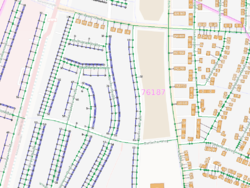 A part of Karlsruhe, Germany in the Addresses view of the OSM Inspector