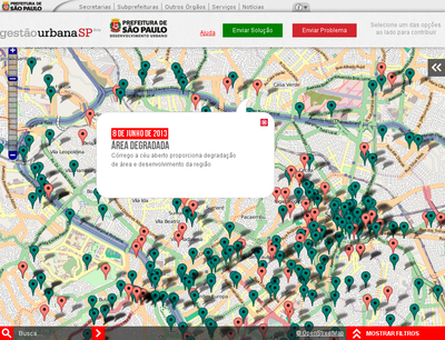 "slippy map screenshot of the project ""Mapeamento Colaborativo - Gestão Urbana SP"" (São Paulo)"