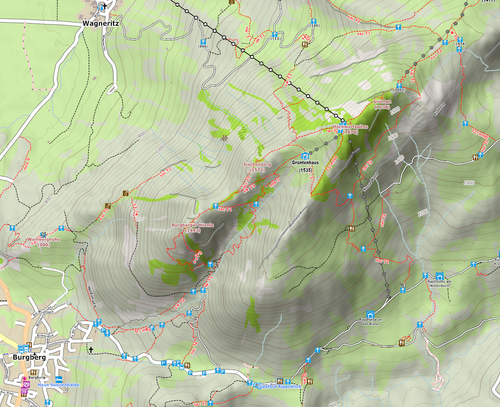 4UMaps Map with elevation lines, hill shading and Track tags